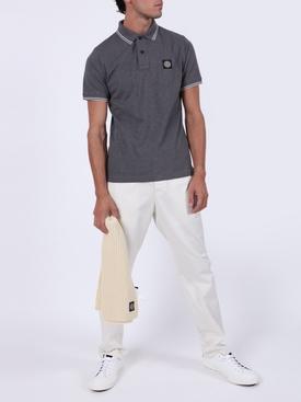 cotton pique polo shirt FUMO MELANGE