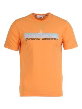 Embroidered logo cotton t-shirt ARANCIO ORANGE