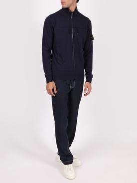 Wool Knit Zip-up Jacket MARINE BLUE