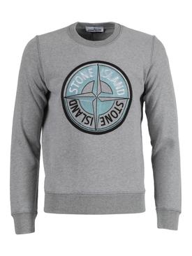 Center logo cotton sweatshirt POLVERE MELANGE GREY