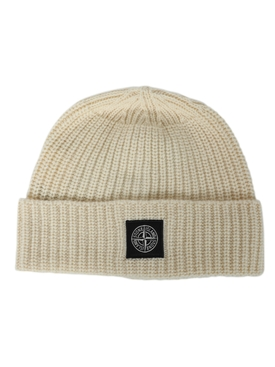 Wool knit ribbed beanie hat BURRO BEIGE