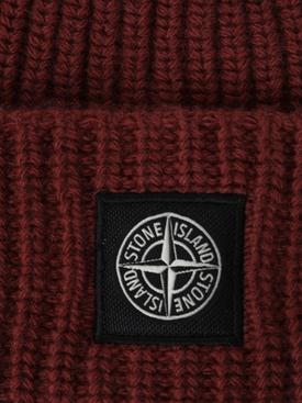 Wool knit ribbed beanie hat MOSTO RED