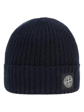 Wool knit ribbed beanie hat BLUE MARINE
