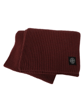 Wool knit ribbed scarf MOSTO RED