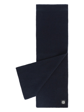 Wool knit ribbed scarf BLUE MARINE