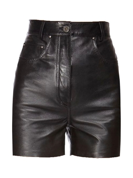 Nappa leather high-waist shorts