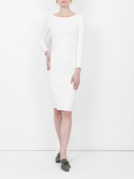 Darta scoop-back midi dress WHITE