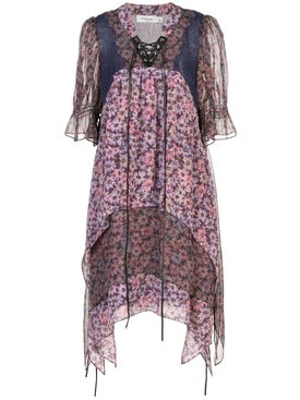 Coach - Purple Floral Short Sleeve Dress - Women