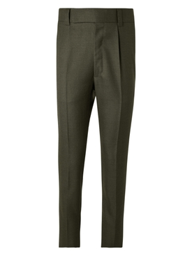 Military green single pleat trousers
