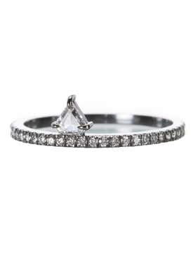 Pavé diamond shield ring