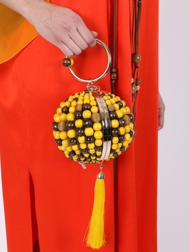 Goby Yellow Wood Beaded Bag