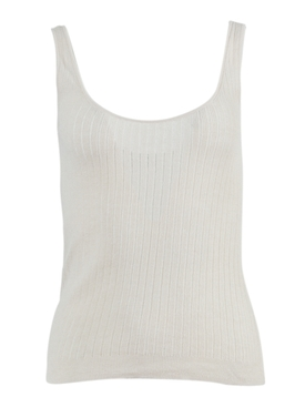 Ivory Pointelle Knit Tank Top