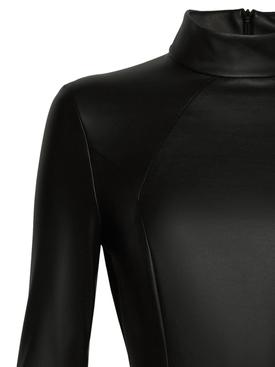 X Amina Muaddi Vegan Leather Bodysuit Black