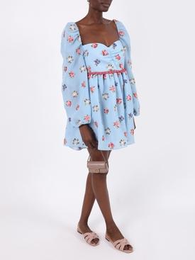Primavera blue embroidered mini dress