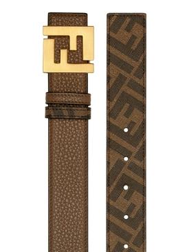 FF Logo Buckle Leather Belt Brown