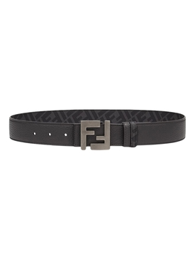 FF Logo Buckle Leather Belt Black
