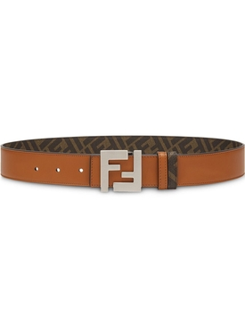 FF Reversible Logo Buckle Belt, Brown