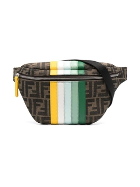 Kids Colorful Stripe FF Print Belt Bag