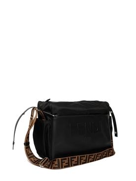 Leather Logo Diaper Bag Black