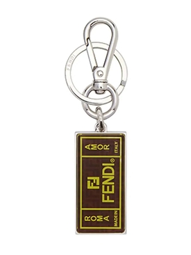 BROWN MOTIF KEYCHAIN BROWN/YELLOW