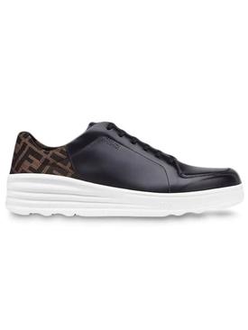 FF motif lace-up sneakers BLACK