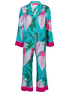 For Restless Sleepers - The Webster X Ritz Paris Floral Print Pajama Set Blue - Sleepwear