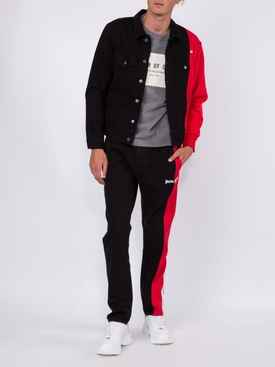 bootcut track denim jeans BLACK-RED
