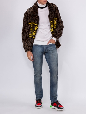 leather lined shearling FF roma amor jacket