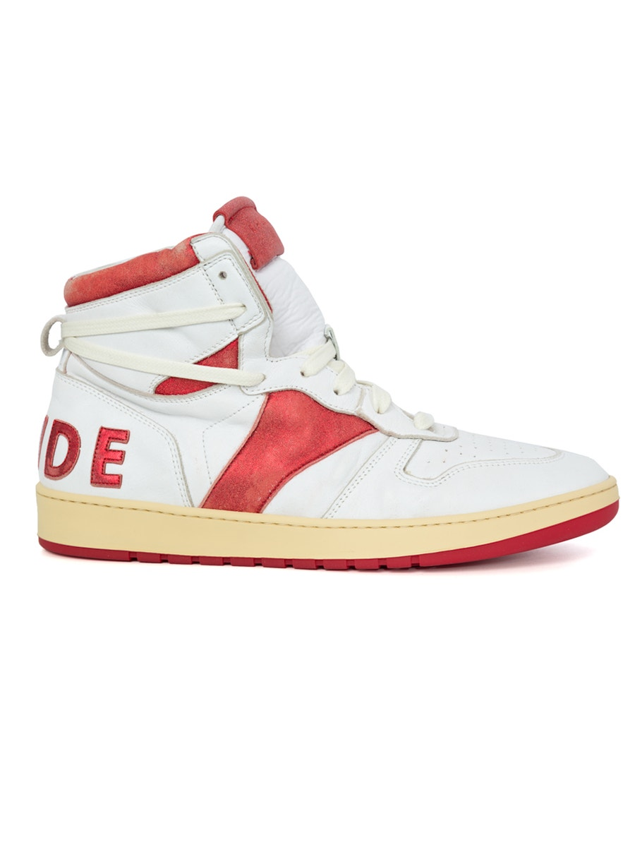 Rhude Sneakers white and red bball high top sneakers