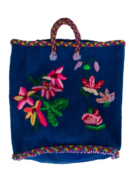 NATHALIE FLOWER SMALL BASKET BLUE