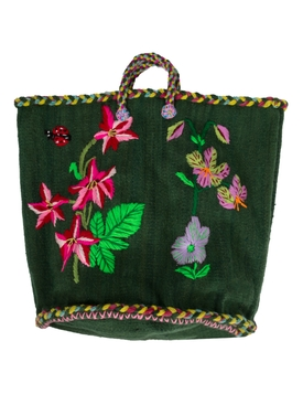 NATHALIE FLOWER MEDIUM BASKET GREEN