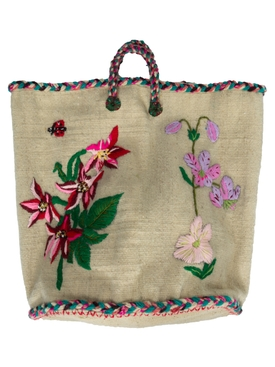 NATHALIE FLOWER MEDIUM BASKET NATURAL