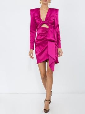 Dundas - Satin Long-sleeve Cut-out Dress - Women