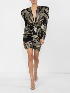 Metallic Deep V dress