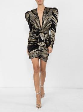 Dundas - Metallic Deep V Dress - Women