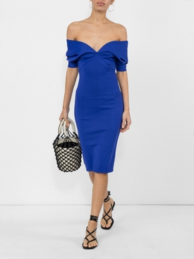 V-neck fitted dress BLUE