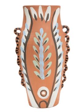 Painted ceramic reversible vase large