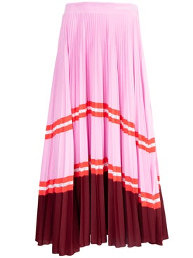 Valentino - Striped Tiered Pleated Skirt Pink - Women