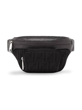 perforated FF motif belt bag BLACK