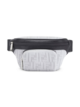 perforated FF motif belt bag WHITE