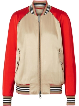 Icon Stripe Detail Monogram Motif Bomber Jacket MULTICOLOR