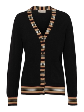 black icon stripe cardigan