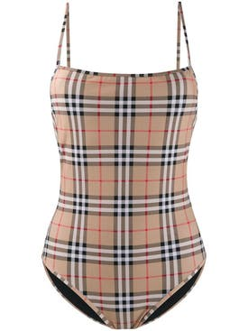 Burberry - Neutral Check Print Swimsuit - Women
