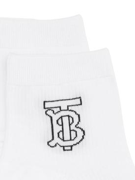 TB Intarsia Logo Socks White