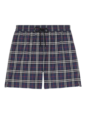 Navy plaid print swim shorts