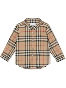 Kids Iconic Check Print Button Down Shirt, Archive Beige