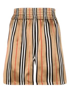 Icon stripe beige shorts