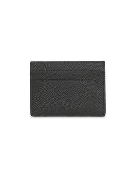 Grain Leather Logo Card Case, Black