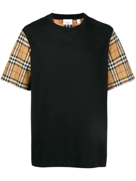 Oversized Check Print Short-Sleeve T-shirt, black