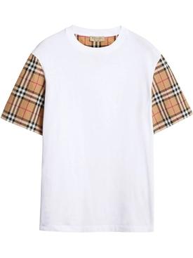 Plaid sleeve t-shirt